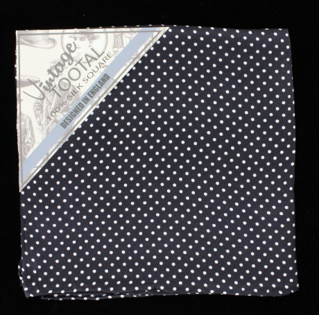 Tootal Black & White Polka Dot Silk Pocket Square