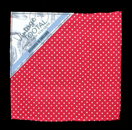 Tootal Red & White Polka Dot Silk Pocket Square