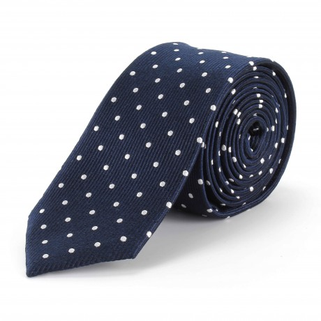 Tootal Navy Blue with White Polka Dots Silk Skinny Tie