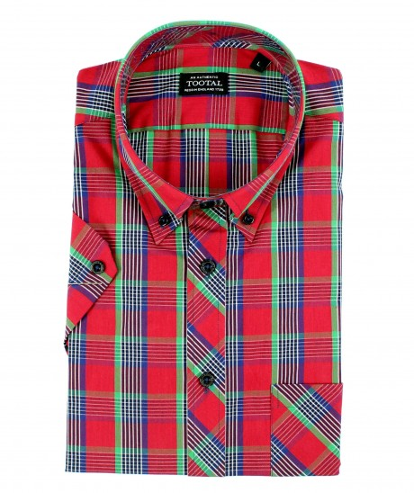 Tootal Red Plaid Short Sleeve Shirt