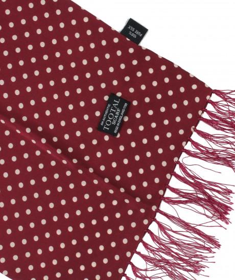 Tootal Wine Polka Dot Print Silk Scarf
