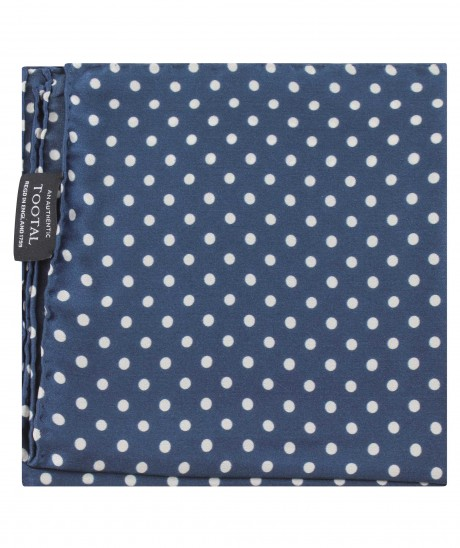 Tootal Navy Blue Large Polka Dot Print Silk Pocket Square