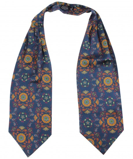Tootal Navy Blue Abstract Paisley Print Silk Cravat