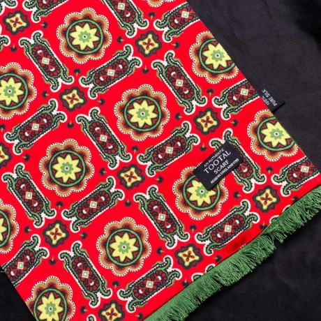 Tootal Red Tile Print With Green Brush Back Silk Scarf