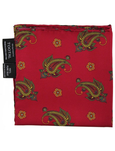 Tootal Made In England Red Paisley Silk Pocket Square