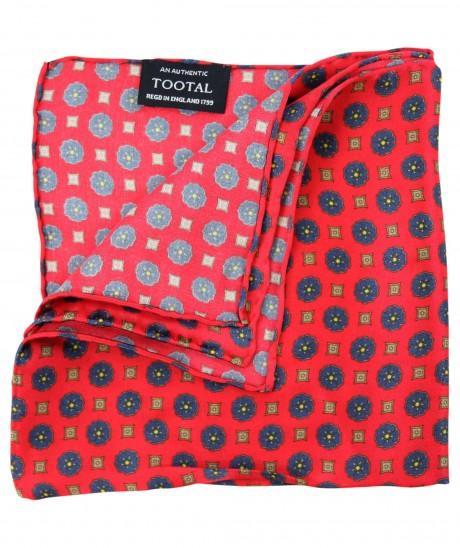 Tootal Red Mini Geo Print Silk Pocket Square