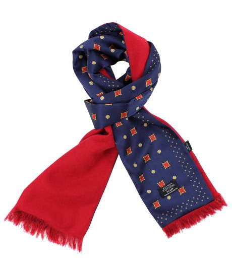 Tootal Navy Blue Motif Print with Red Brushed Back Silk Scarf