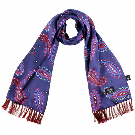 Tootal Blue & Red Large Paisley Silk Scarf