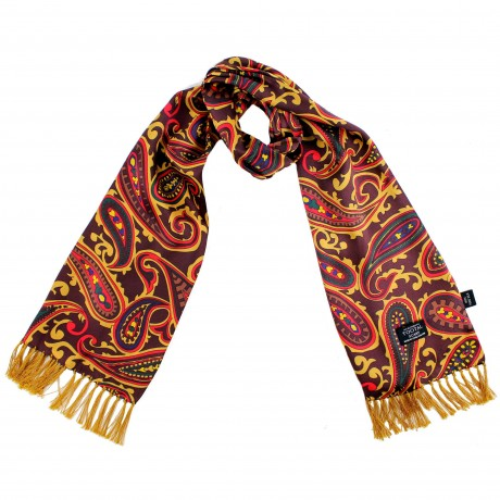 Tootal Burgundy Large Paisley Silk Scarf