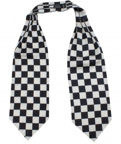 Tootal Black & White Chequered Flag Silk Cravat