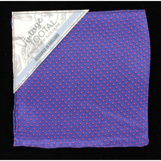 Tootal Navy & Red Polka Dot Silk Pocket Square