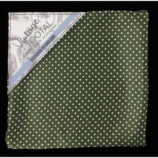 Tootal Green and White Polka Dot Silk Pocket Square