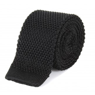 Tootal Black Knitted Silk Plain Tie