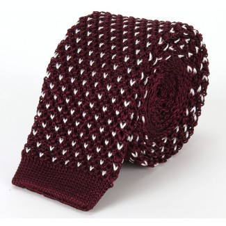 Tootal Burgundy Silk Knitted Dot Tie