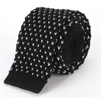 Tootal Black Silk Knitted Dot Tie