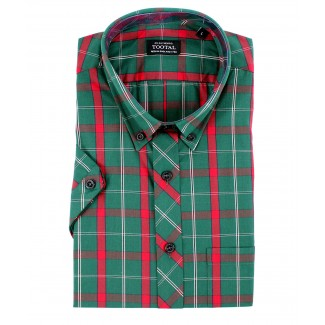 Tootal Green Plaid Short Sleeve Shirt