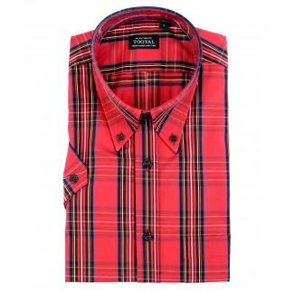 Tootal Red Tartan Print Short Sleeved Shirt