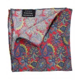 Tootal Burgundy Retro Paisley Silk Pocket Square