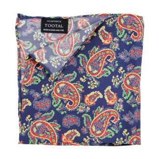Tootal Navy Blue Paisley Silk Pocket Square