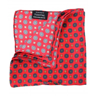 Tootal Red Mini Geo Print Silk Pocket Square